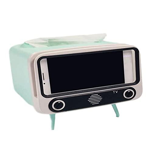 Caja de pañuelos de TV retro con soporte para teléfono, 2 en 1 creativa caja de pañuelos para TV, dispensador de almacenamiento con soporte para teléfono móvil para baño, dormitorio y oficina