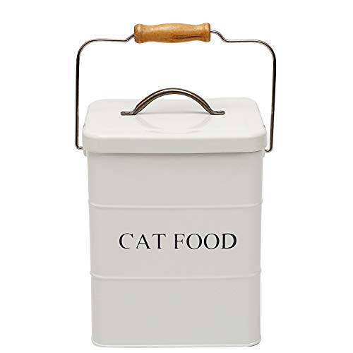 Geyecete- Cajas Almacenamiento de Alimentos y golosinas para Animales, con Mango de Madera y herméticas Tapa, Acero Carbono Revestido Contenedor de Comida para Gatos -Capacidad 3kgs-Blanco