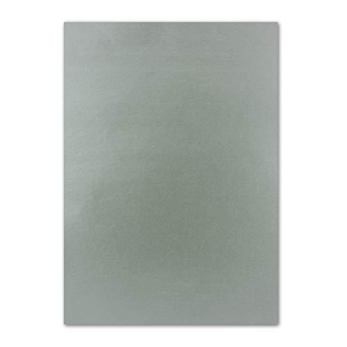 50x DIN A4 Papier beidseitig Silber glänzend, 21 x 29,7 cm, Bastelpapier, Foto Effekt-Papier mit Metallic-Effekt