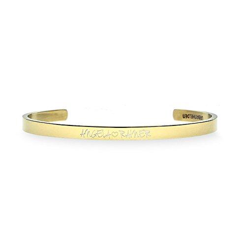 URBANHELDEN - Gravierter Armreif mit Ihrem Wunschnamen - Damen Schmuck Bangle Personalisiert - Verstellbar, Edelstahl - Armband mit Wunschgravur - V2 Gold