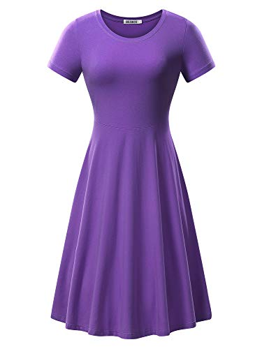 HUHOT Casual Fall Dresses, Women Short Sleeve Cotton Midi Dress Dinner Party(Purple,L)