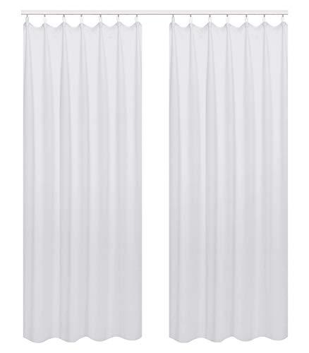 WOLTU 489-2, 2er Set Gardinen Vorhang Blickdicht mit kräuselband für schiene, leichte & weiche Verdunklungsvorhängen für Wohnzimmer Tür, 135x245 cm, Weiß (Hinter: Grau)