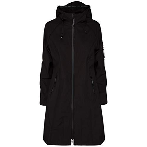 Ilse Jacobsen Klassische knielange Damen Jacke | Outdoor Regen Parka wasserdicht, Winddicht, atmungsaktiv | Softshell Polyester und Elastan | RAIN37L Schwarz 40