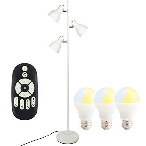 共同照明 フロアスタンド ランプ フロアライト スタンドライト 3灯 GT-DJ02W-9WT-2 調光調色LED電球60W形付き リモコン対応 LEDライト照明 組立式 ホワイト スポットライト 北欧 おしゃれ 間接照明 led スタンド照明 角度調節自由 照明器具 個別点灯 寝室 リビング 居間 インテリアライト ルームライト