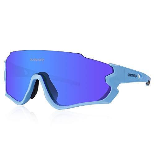 Queshark Gafas de Ciclismo para Hombre Mujer Bicicleta de Carretera 1 Lente Polarizada 3 HD UV400 Lente QE45 (Azul Rosado)