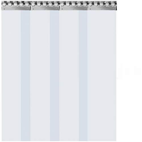 VEVOR Tenda per Porta Esterna 1x2m, Tenda a Striscia in PVC 4 Fette Trasparente, Tendaggio di Porta con Staffa e Unghie Resistenza a Vento Acqua Graffi Temperatura per Supermercati, Negozi e Sale
