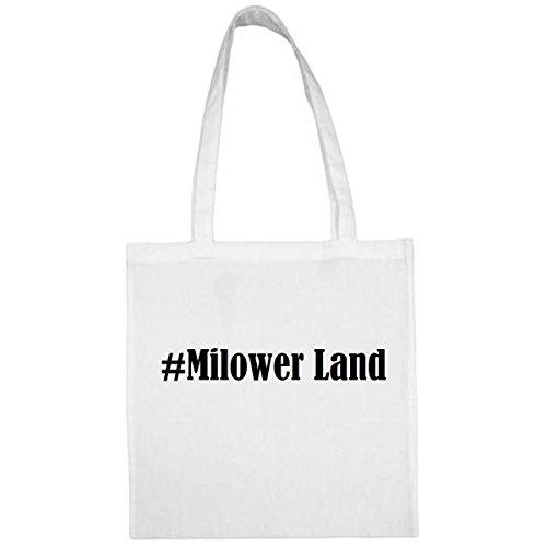 Tasche #Milower Land Größe 38x42 Farbe Weiss Druck Schwarz