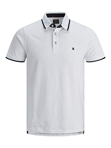 Jack & Jones Jjepaulos Polo SS Noos, Blanco (White Detai