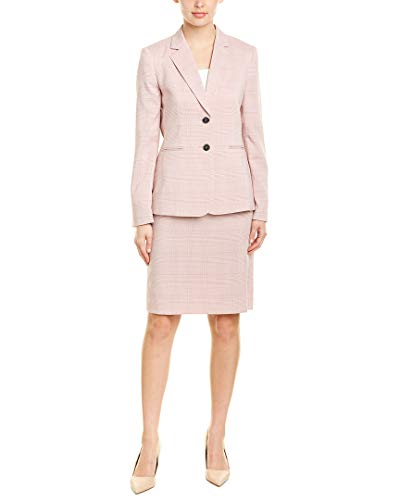 Tahari by ASL Roll Sleeve Two-Button Jacket Skirt Set Pink Plaid 14