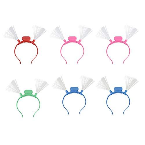Lurrose 6 stks Fiber Optic Led Hoofdband Kerstmis Glow Hoofdband Haarband Headdress Voor Vakantie Festival Kostuum Party (Random Gemengde Kleur)