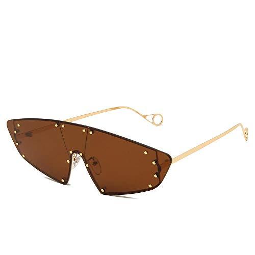 Gosunfly Gafas de sol de moda Montura grande Sombrilla Espejo sin marco Ocean Piece Rice Nail Gafas de sol de una pieza-Montura dorada Barbie en polvo (película en polvo)