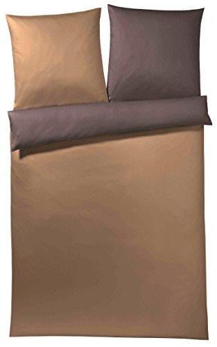 Elegante 2 combinaties dekbedovertrek Minime 6029 Mako-satijn, kleur 7 cognac-chocolade, 135x200 cm