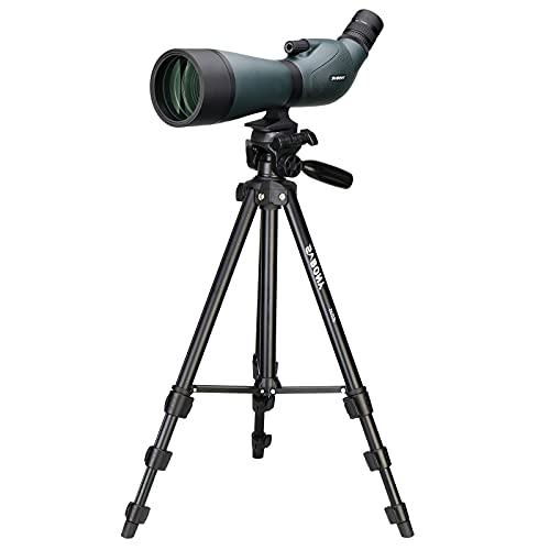 Svbony SV19 Telescopio Terrestre con Trípode 20-60x80, HD Impermeable Prisma de Porro Telescopio Monocular para Observación de Aves, Tiro con Arco, Luna