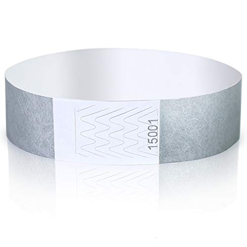 Amazy Einlassbänder (100 Stück   nummeriert) – Wasserfeste, bedruckbare Eintrittsbänder zur Kontrolle und Sicherheit bei Veranstaltungen und Events (Silber)