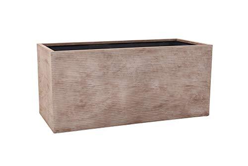 VIVANNO Pflanzkübel Pflanztrog aus Fiberglas Maxi 100 cm, Beige gestreift