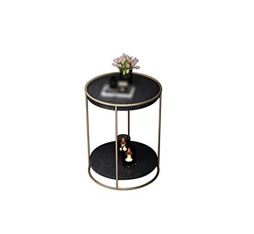 2-tier Small Round Table, Wooden Bedside Table Small Apartment Living Room Bedroom Accent Table Corner Table(Size:40 * 40 * 55CM,Color:A)