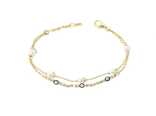 Remi Bijou - Elegantes Armband Armkette Armreif - blaues Auge Nazar Boncuk Perlen Zirkonia Strass (Gold)