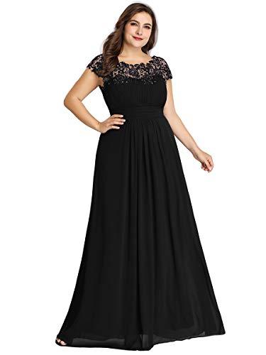 Ever-Pretty Damen Abendkleid A-Linie Spitze Rundkragen rückenfrei Lange Spitzenkleid Schwarz 38