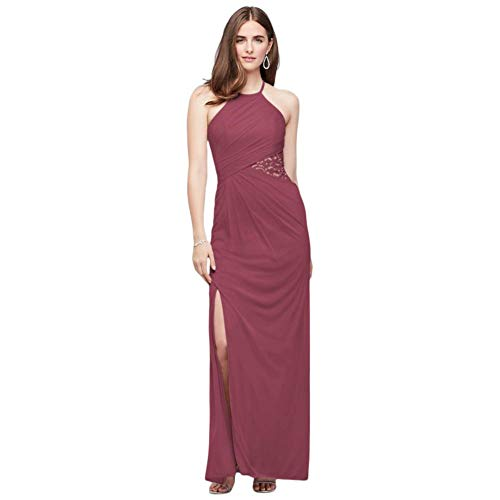 High-Neck Mesh Bridesmaid Dress with Lace Inset Style F19985, Chianti, 2
