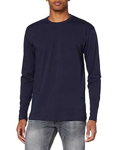 Lower East 5er Pack Herren Langarm-Shirts mit Rundhalsausschnitt aus 100% Baumwolle, Blau (Dunkelblau), XL