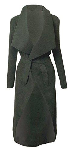 Cappotto ispirato allo stile di Kim Kardashian, lungo, con cintura, misure: 40-46 Charcoal Taglia unica