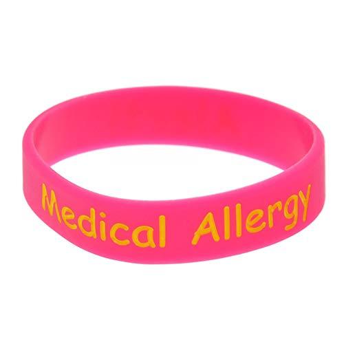 HSJ 2 Unids Allergy Médico Pulsera De Silicona Pulsera Lenguaje Pulsera Tamaño del Niño Suave Pulsera Inspira Perfectamente Fitness, Baloncesto, Sports Buscando, Ejercicio Y Tareas,Rosado