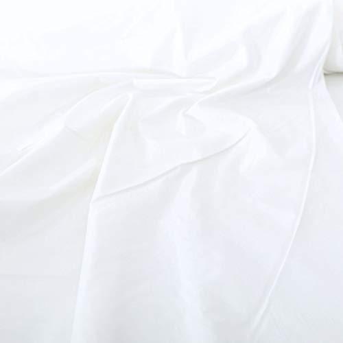 TOLKO Bauwollstoffe Sommer Batist aus 100% Baumwolle - feiner Stoff als Meterware zum Nähen u Dekorieren (Weiß 280cm breit)