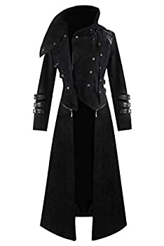 Mens Medieval Steampunk Coat Tailcoat Jacket Halloween Long Gothic Victorian Vintage Costume