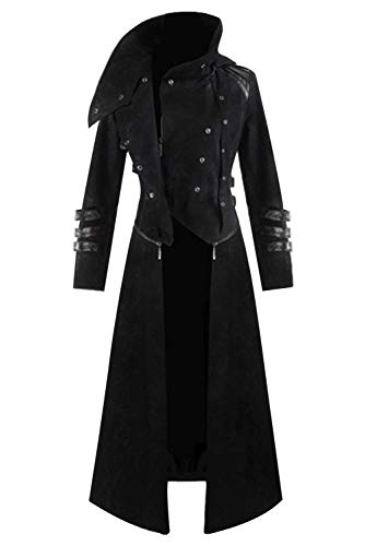 Mens Steampunk Victorian Coat Tailcoat Jacket Halloween Long Gothic Vintage Costume (Large, Black 2)