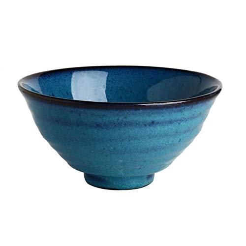 MKKSLR Ceramic Bucket Bowl 7 Inch Home Restaurant Creative Vintage Ceramic Noodle Bowl Salad Bowl (Color: Azul, Tamaño: 18 *...