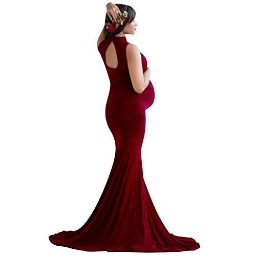 IBAKOM - Vestido de maternidad sin mangas, espalda desnuda, para fotografía, bodas,...