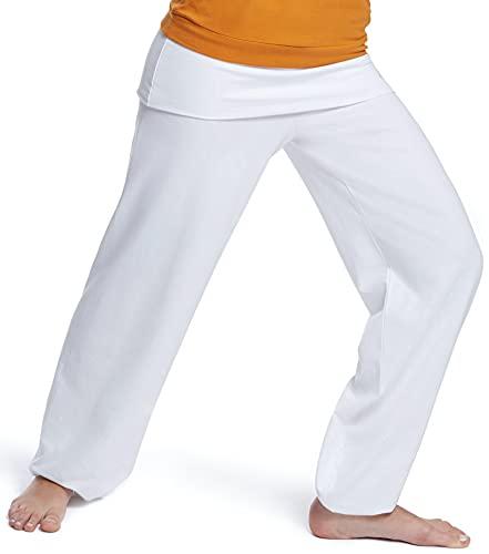 Esparto Sooraj Pantalones de yoga de algodón orgánico, color Schneeweiss, tamaño XXS