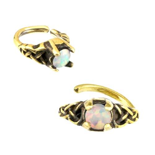 CHICNET Universal Piercing Ring Ear Nose Brass Antique Gold Opal White Celtic Knot Nostril Septum Conch Tragus Helix Lobe