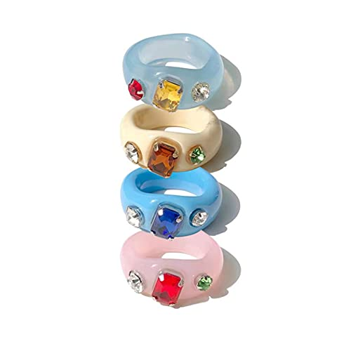 Chereda 4 anillos de acrílico de resina vintage para mujeres y niñas, anillos apilables para dedo lindos diamantes de imitación coloridos transparentes anchos cúpula anillos