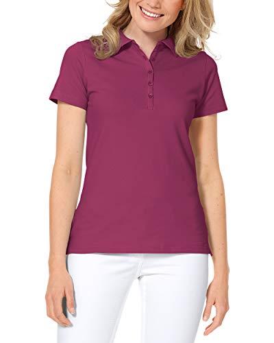 CLINIC DRESS Shirt Poloshirt für Damen - Kurzarm Stretch mit 96% Baumwolle für Krankenschwestern, Ärztinnen und Pflegepersonal Berry 38/40