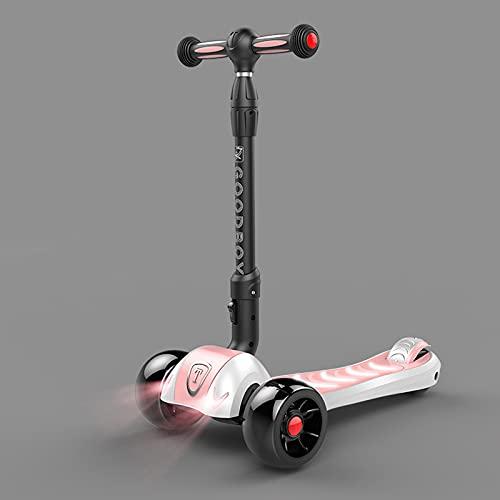 tquuquu Scooter para niños, luz de respiración de música Intermitente Colorida para niños y niñas, Bicicleta yo-yo Plegable resbaladiza de un pie