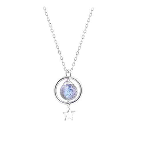 zlw-shop Collar de Mujer Collar de Cristal de Color Rosa Anillo de Plata Redondo de Plata Azul Colgante de Cristal for el Temperamento for Las Mujeres Collares Pendientes (Color : A)