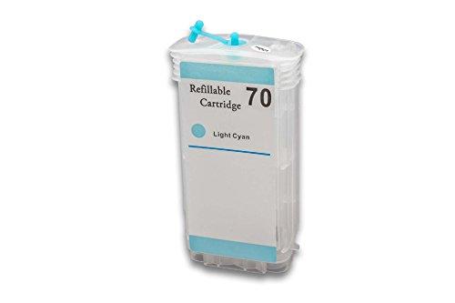 vhbw Cartucho de Tinta vacío Cyan Light para Usar en Lugar de HP 70 (Compatible + Chip)