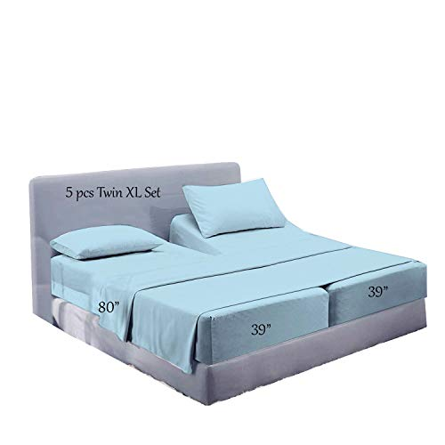Split Bed Sheet Set (5 Pieces) Adjustable Bed Sheets - 100% Egyptian Cotton - 400 Thread Count - 16 Inch Deep Pocket of Fitted Sheet -(Split King,Light Blue Solid)