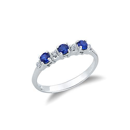 Anello trilogy in Oro Bianco 18k con zaffiri blu e diamanti - 10