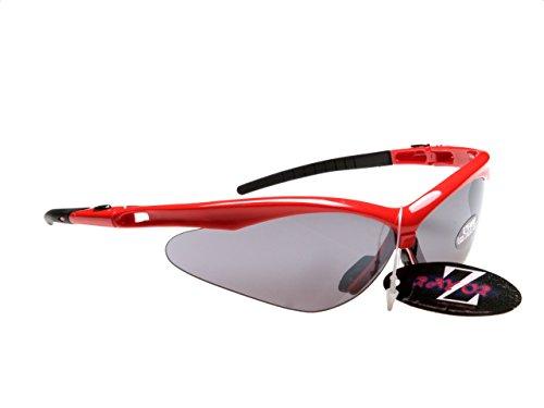 Rayzor Professionnel léger UV400 Rouge Sport Wrap Course Lunettes de Soleil, avec Une fumée Miroir Anti-éblouissement Lens.