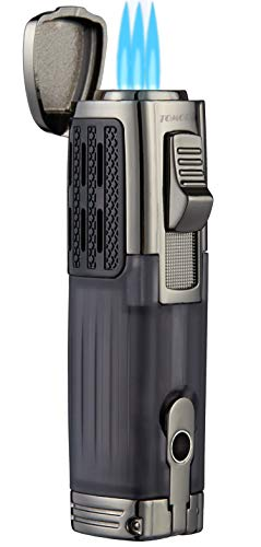 TOMOLO Torch Lighter Triple Jet Flame Refillable Butane Cigar Lighter with Cigar Punch,2 Pack,Charcoal