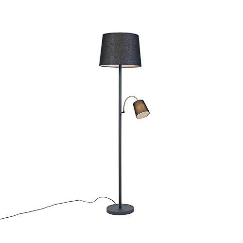 QAZQA - Klassisch | Antik Klassische Stehleuchte | Stehlampe | Standleuchte | Lampe | Leuchte schwarz mit schwarzem Lampenschirm und Leselicht - Retro | Wohnzimmer | Schlafzimmer - Stahl Länglich - LE