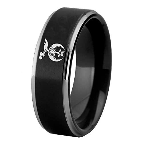 Freemason Mason Anillos de tungsteno masónicos para el novio de los hombres Anillo de compromiso de boda 12 NEGRO