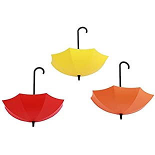 92499 3Pcs Colorful Umbrella Wall Hook,Key Hanging Hair Pin Holder Hook for Bathroom Kitchen size 11.8cm x 7cm x 12cm (Orange + Yellow + Red):Amedama