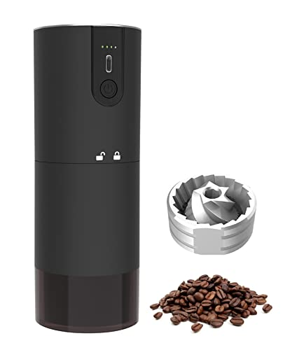Cordless Burr Coffee Grinder Electric,USB Rechargeable Grinder with CNC Stainless Steel Conical Burr,Capacity 15-20g,Pour Over Coffee for Grinder Gift of Office Home Traveling Camping