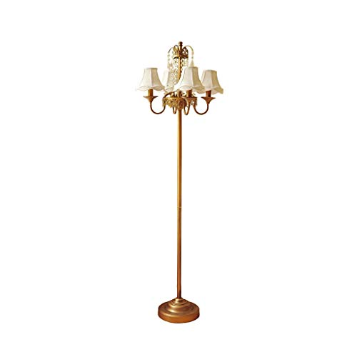 Europese Floor Lamp Living Room Creative Retro Verticale Light slaapkamer woning Crystal decoratieve lamp Bedside Studie Leren Lezen Light LED (Color : Brass, Size : 42cm*160cm)