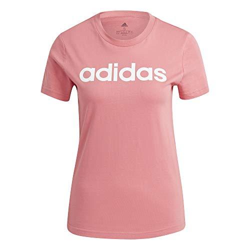 adidas W Lin T Maglietta da Donna, Donna, Maglietta, GV4041, Rosa/Bianco (ROSBRU/Blanco), M