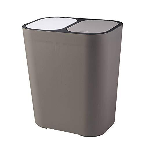 Dubbele vak stap prullenbak kan recycler, afneembaar, gemakkelijk te reinigen, rechthoek plastic drukknop, geclassificeerd vuilnisbak met veilige Slide Lock voor keuken
