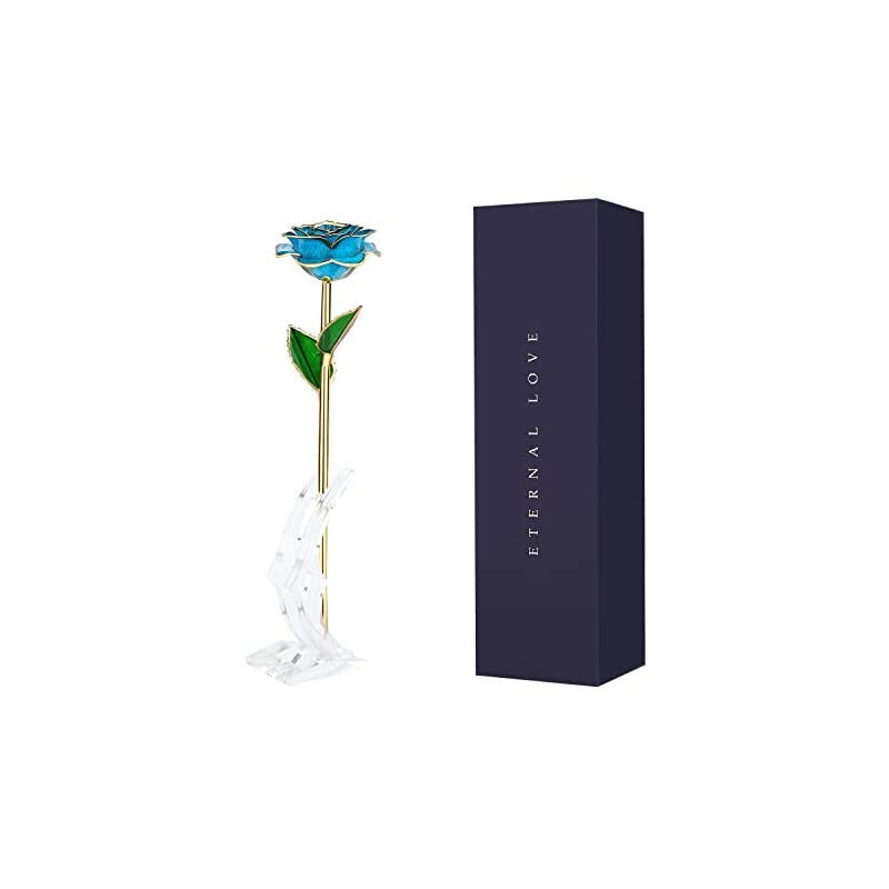 silk flower arrangements wildlove 24k gold dipped rose, artificial rose flowers with transparent stand,birthday/anniversary/valentines day gift for her,wife,girlfriend -light blue